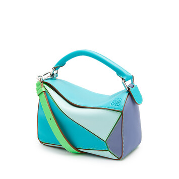 LOEWE Small Puzzle Bag In Classic Calfskin Lagoon Blue/Blueberry front