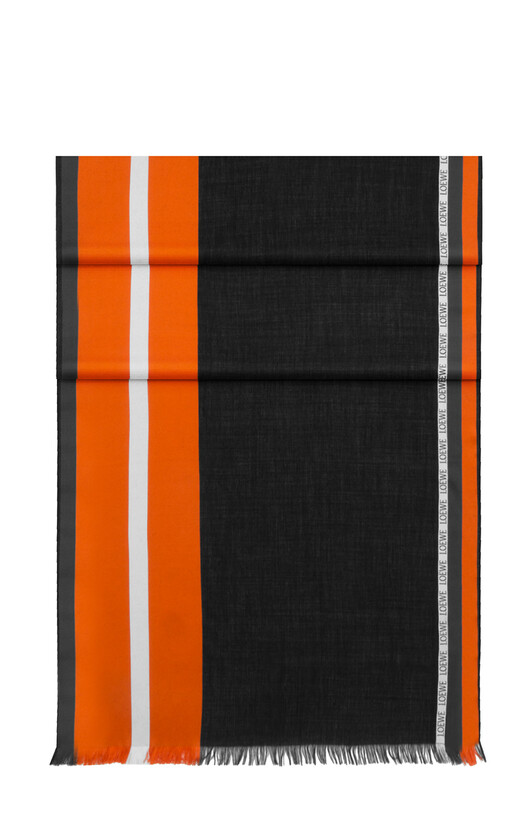 LOEWE 70X200 Scarf Stripes orange/black front