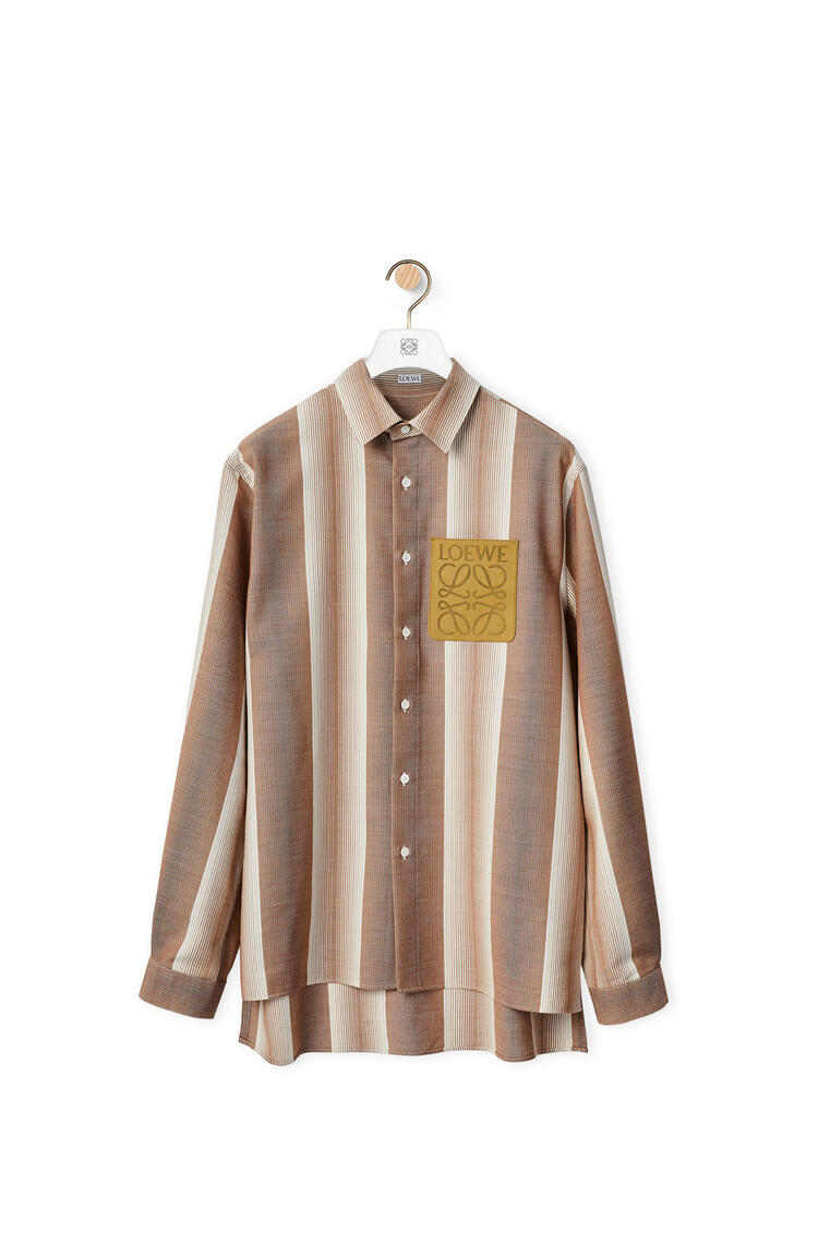 LOEWE Stripe overshirt in wool and cotton Soft White/Brown pdp_rd
