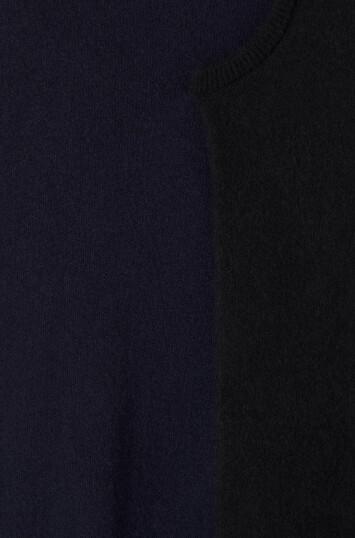 LOEWE Asymmetric Knit Dress Black/Navy Blue front