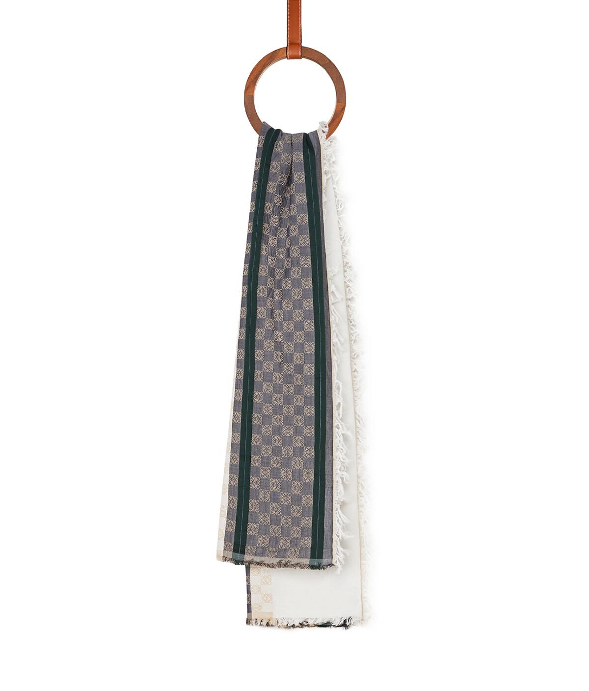 LOEWE 70X157 Scarf Stripe Anagram White/Pink front