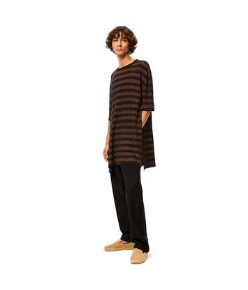 LOEWE Stripe Rib Long T-Shirt Brown/Black front