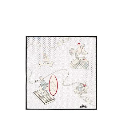 LOEWE 50X50 Bandana Paula Plumetis Beige/White front