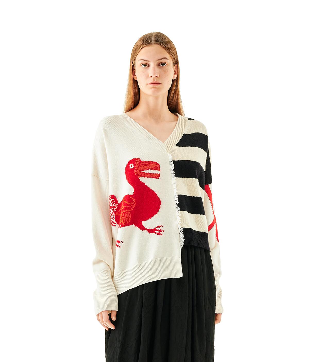 LOEWE V-Neck Sweater Dodo White/Black/Red front