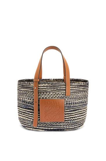 LOEWE Basket bag in sisal and calfskin 黑色/棕褐色 pdp_rd