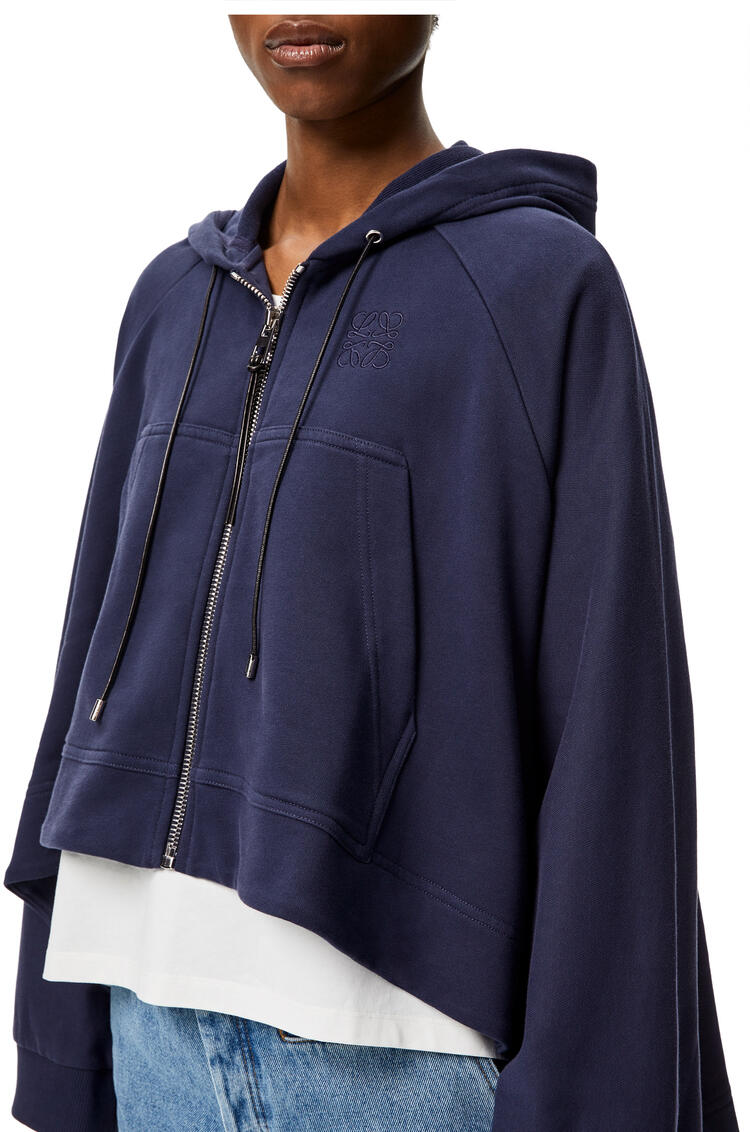 LOEWE Oversize anagram embroidered zip hoodie in cotton Navy Blue pdp_rd