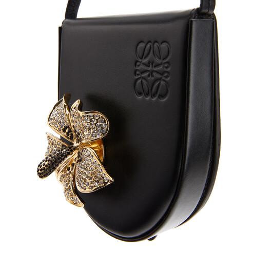 LOEWE Heel Pouch Small Metal Flower Black front