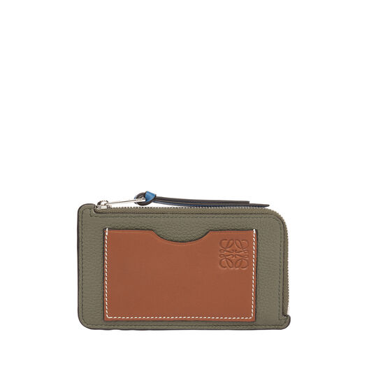 LOEWE Coin/Card Holder Large Khaki Green/Pecan Color front