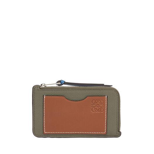 LOEWE Coin Cardholder Large Khaki Green/Pecan Color front