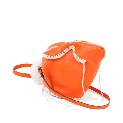 LOEWE Bunny Macrame Mini Bag Orange/White front