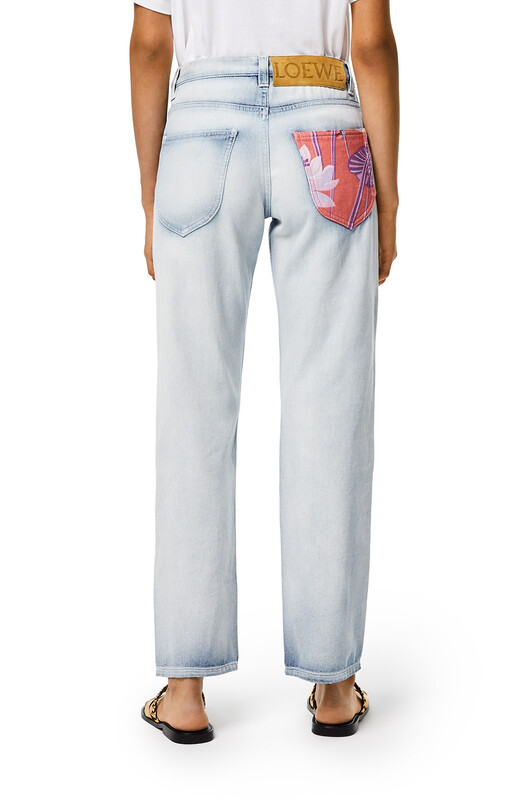LOEWE Patched Jeans In Cotton Light Blue/Multicolor front