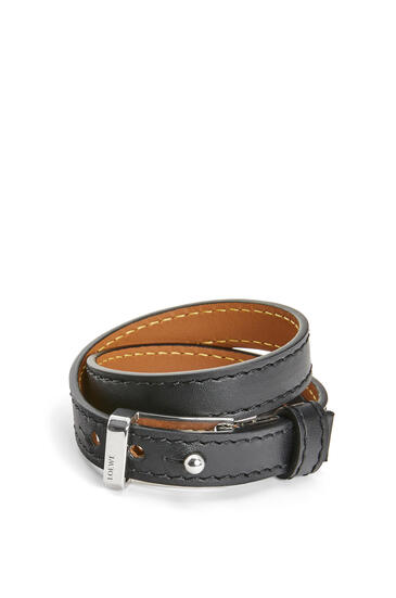 LOEWE Double bracelet in calfskin Black pdp_rd