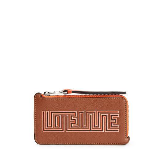 LOEWE Maze Coin/Card Holder Tan/Orange front