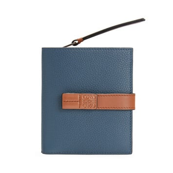 LOEWE Compact Zip Wallet Steel Blue/Tan front