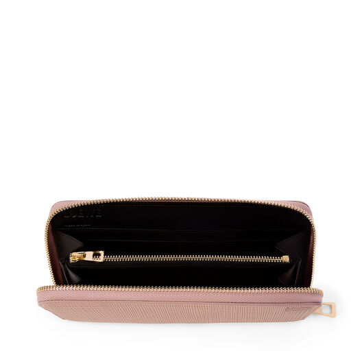 LOEWE Linen Zip Around Wallet Blush front
