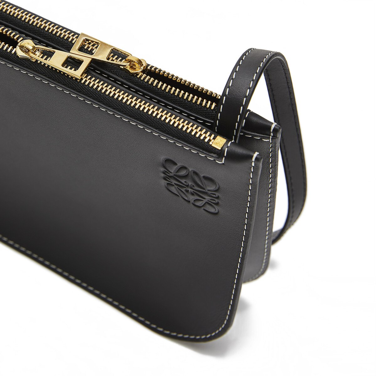 LOEWE Gate Double Zip Pouch Black front