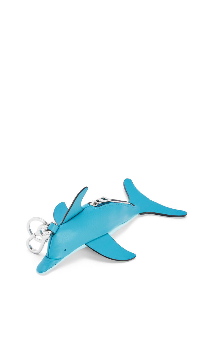 LOEWE Dolphin charm in classic calfskin Dark Peacock Blue/Aqua pdp_rd