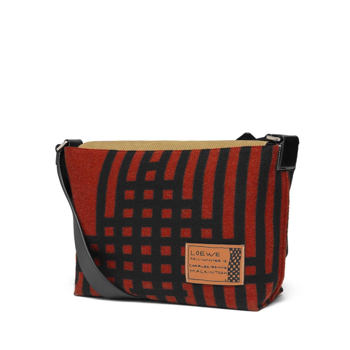LOEWE Milit Messenger Grid S Bag Scarlet Red/Black front