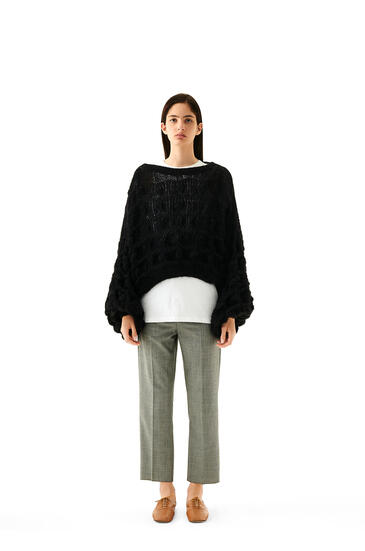 LOEWE Balloon Sleeve Cable Sweater In Mohair Black pdp_rd