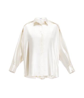 LOEWE Crinkle Satin Blouse Blanco front