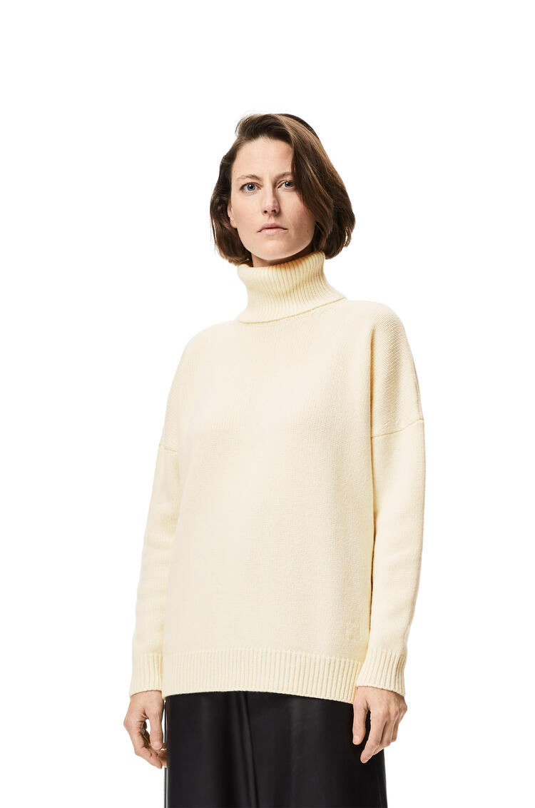LOEWE Anagram embroidered high neck sweater in cashmere Off-white pdp_rd