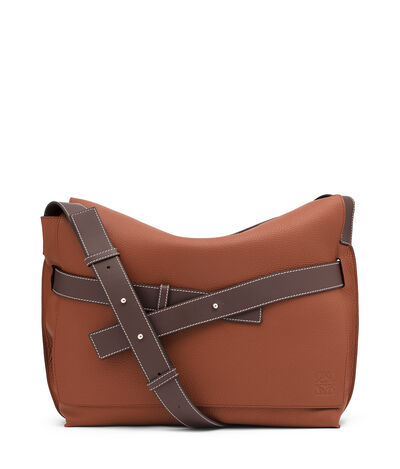 LOEWE Strap Messenger Bag Cognac/Chocolate Brown front