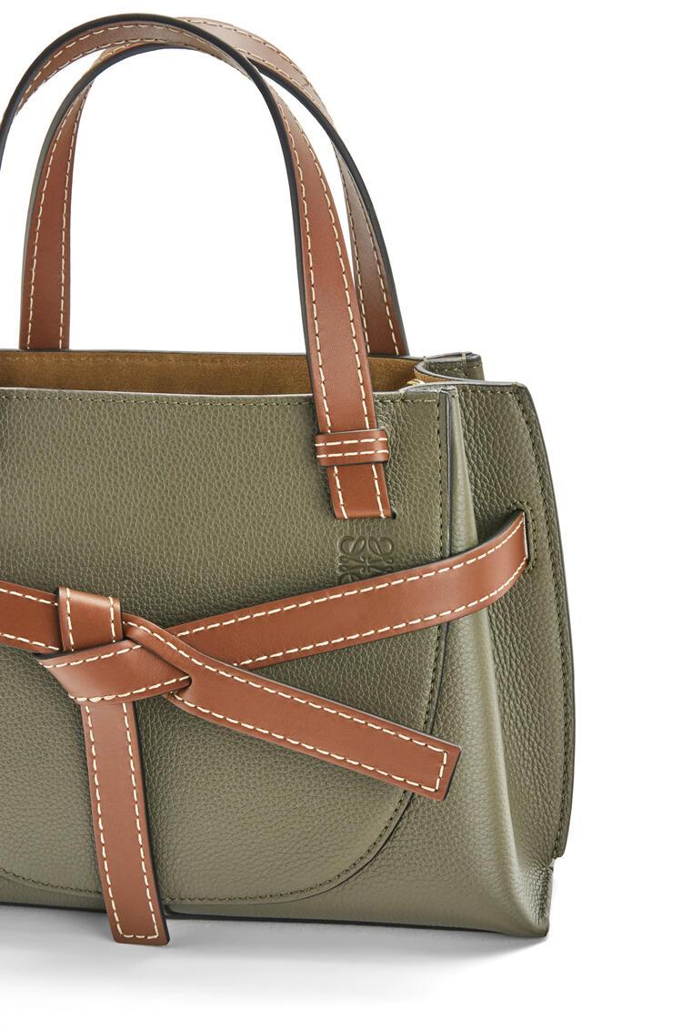 LOEWE Mini Gate Top Handle bag in soft grained calfskin Khaki Green/Pecan pdp_rd