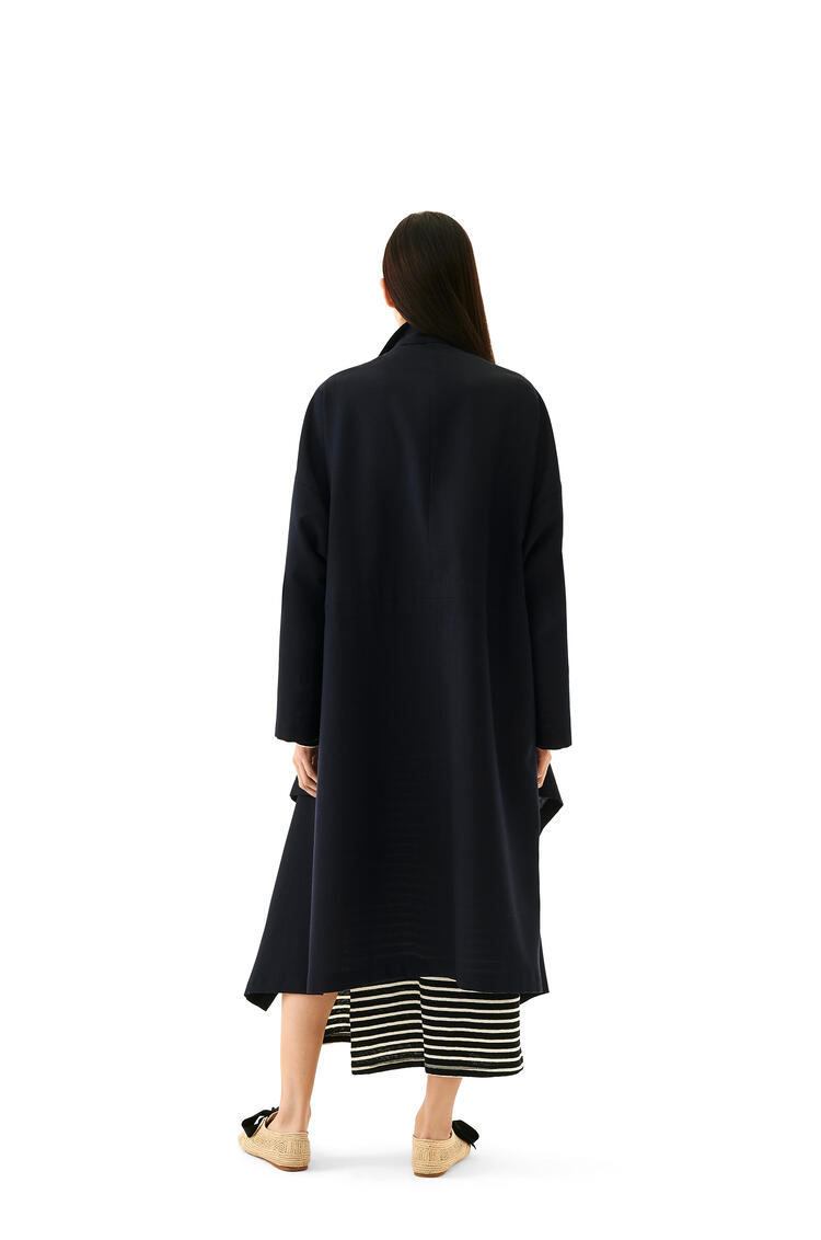 LOEWE High neck double-breasted coat in cashmere Navy Blue pdp_rd