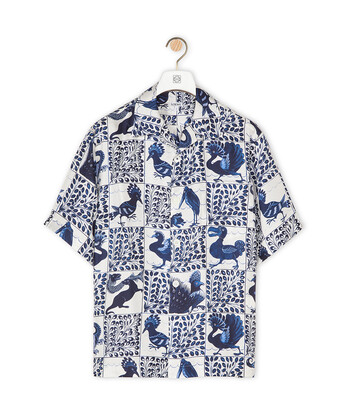 LOEWE Short Sleeve Print Shirt Animals Blue/White front