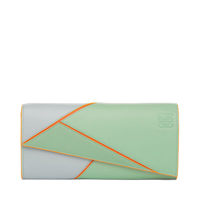 LOEWE Puzzle Continental Wallet Aqua Multitone front