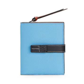 LOEWE Cartera Compact Zip Azul Celeste/Negro front