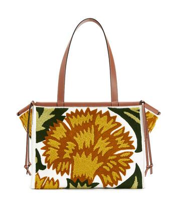 LOEWE Cushion Tote Floral Bag イエロー front