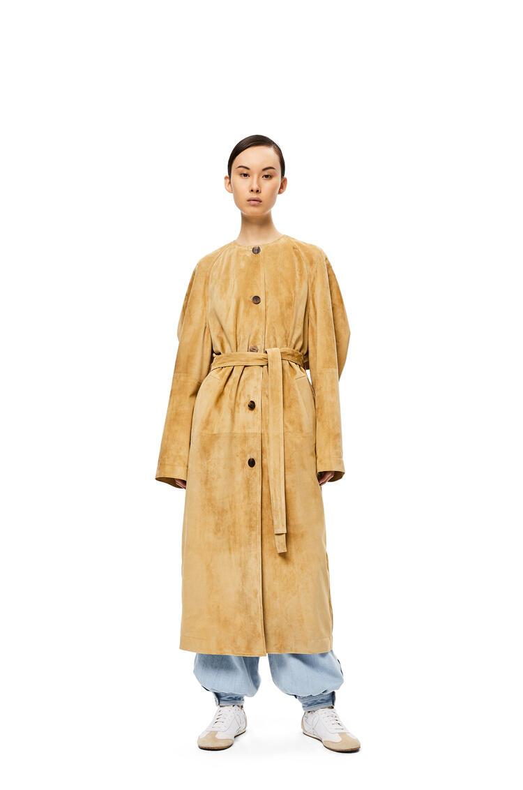 LOEWE Raglan Sleeve Coat In Suede Gold/Green Lime pdp_rd