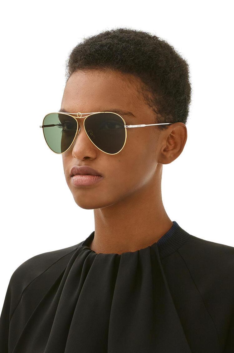 LOEWE Metal knot pilot sunglasses Gold/Green Smoke pdp_rd