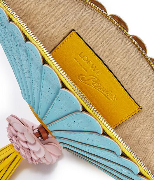 LOEWE Fan Clutch Bag In Classic Calfskin Aqua/Yellow front