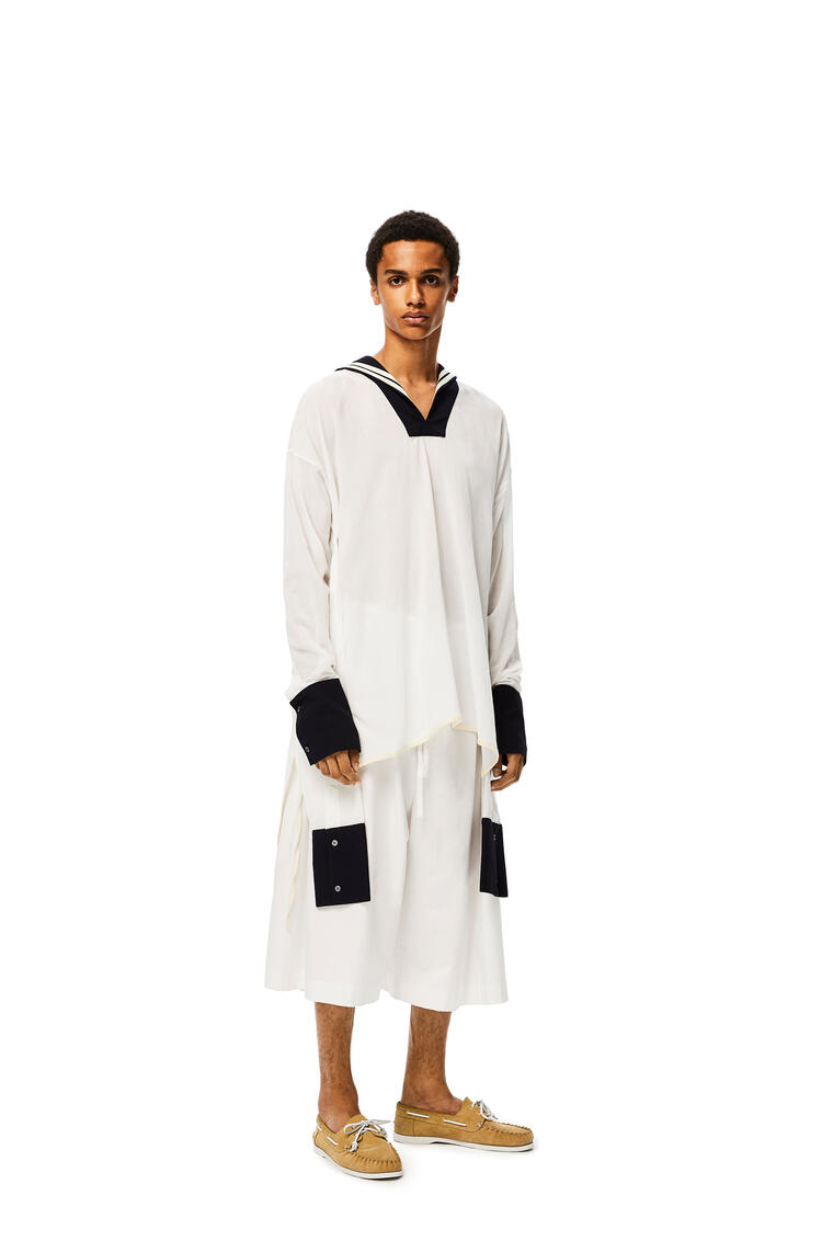 LOEWE Sailor tunic in cotton White/Navy Blue pdp_rd