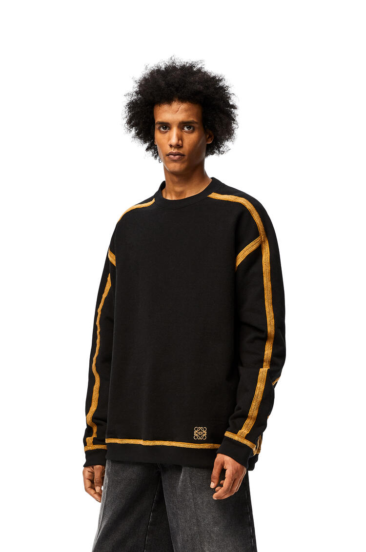 LOEWE Anagram embroidered oversize sweatshirt in cotton Black/Camel pdp_rd