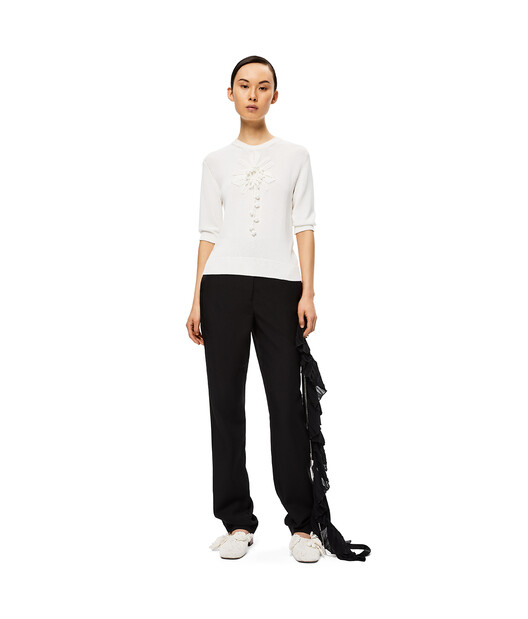 LOEWE Embroidered Short Sweater Blanco front