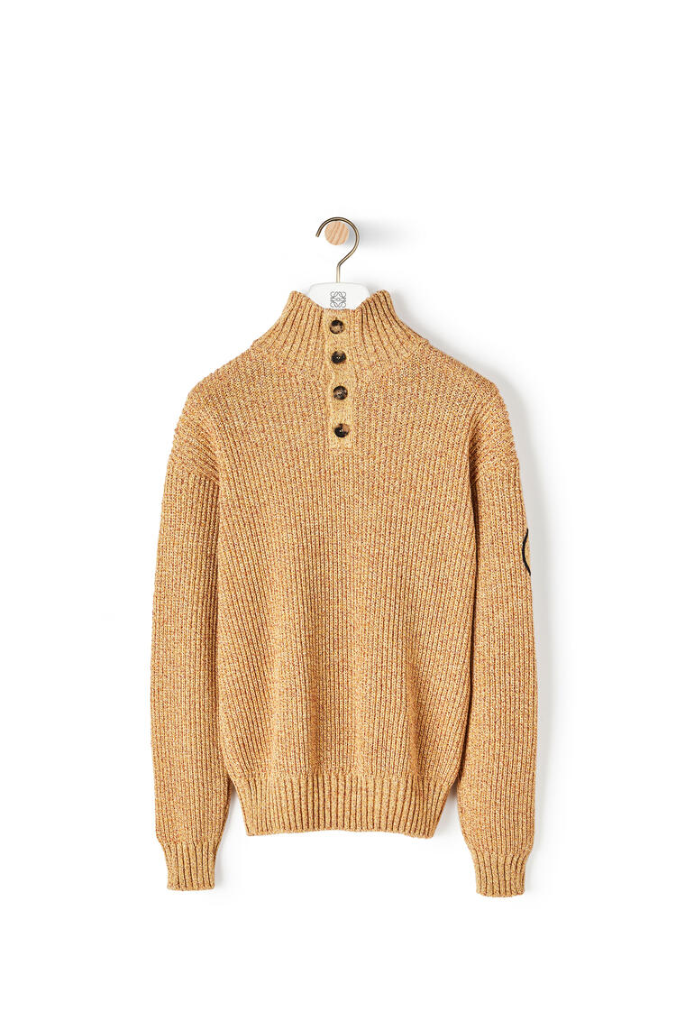 LOEWE Melange high neck sweater in cotton 芥末 pdp_rd