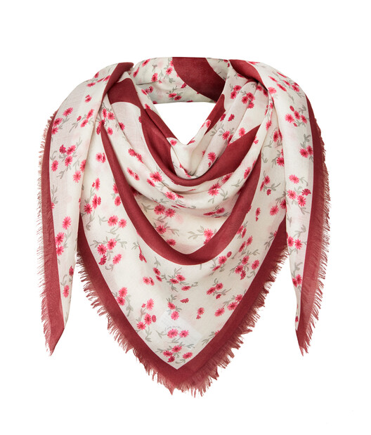 LOEWE 140X140 Flower Scarf Red front