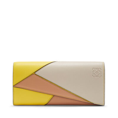 LOEWE Puzzle Continental Wallet Yellow/Powder front