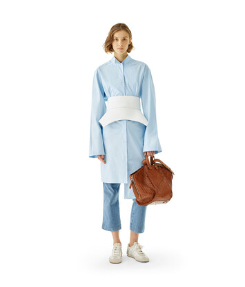 LOEWE Ov Asymmetric Shirtdress Baby Blue front