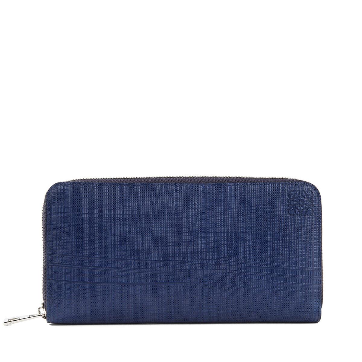 LOEWE Linen Zip Around Wallet Navy Blue front