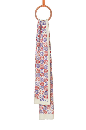 LOEWE 70X200 Scarf Anagram Light Blue/Red front