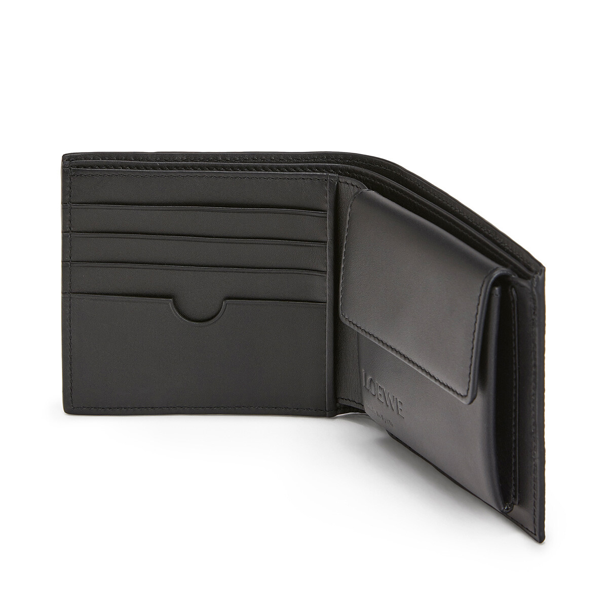 LOEWE Puzzle Bifold/Coin Wallet Cognac/Chocolate Brown front