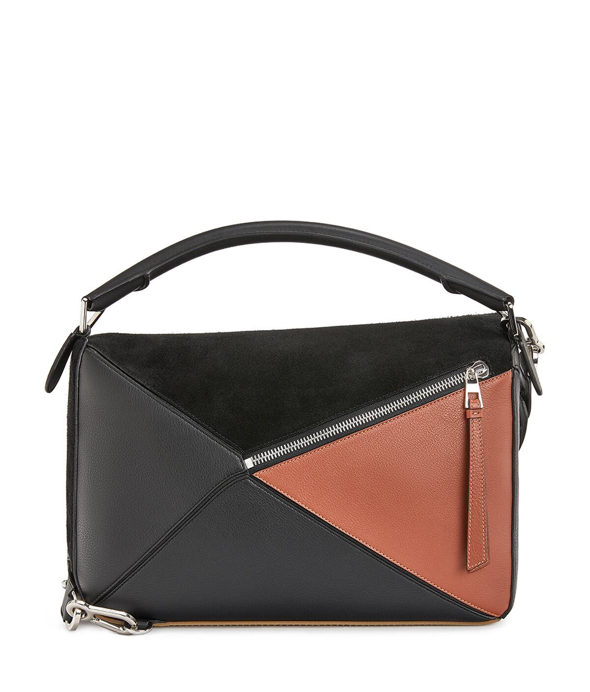 LOEWE Puzzle Trainers Large Bag Black/Tan front