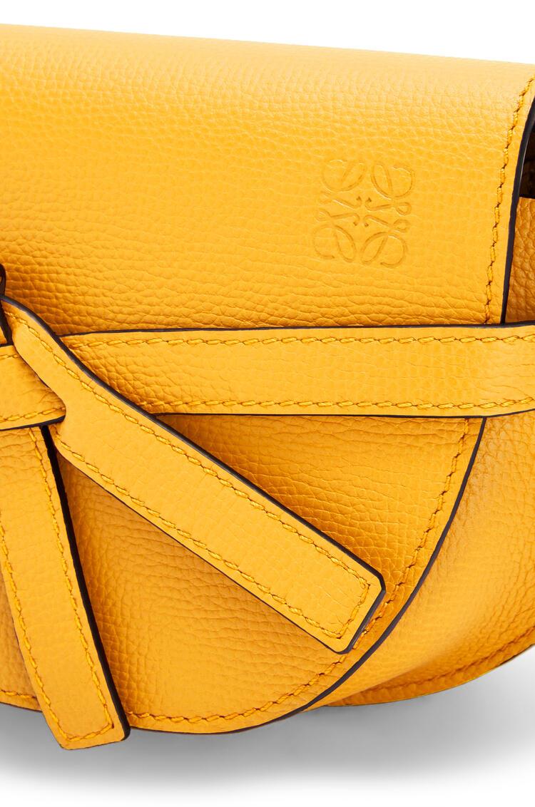 LOEWE Mini Gate dual bag in pebble grain calfskin Yellow Mango pdp_rd