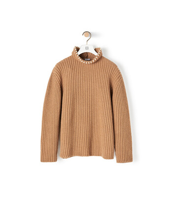 LOEWE High Neck Sweater Pearls Camel front