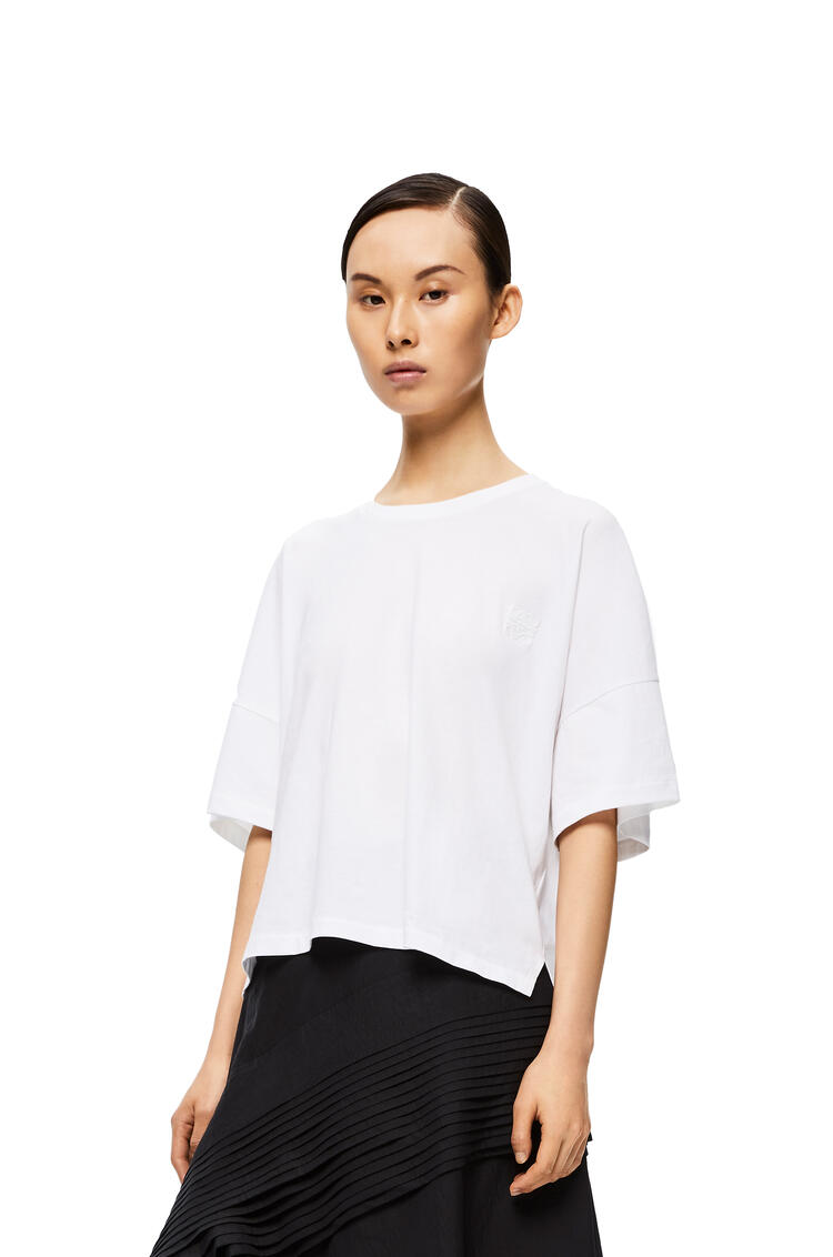 LOEWE Anagram Embroidered Short Oversize T-shirt In Cotton White pdp_rd