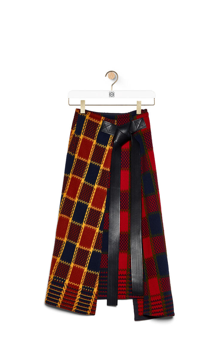 LOEWE Wrap skirt leather belt in check wool Orange/Navy Blue pdp_rd